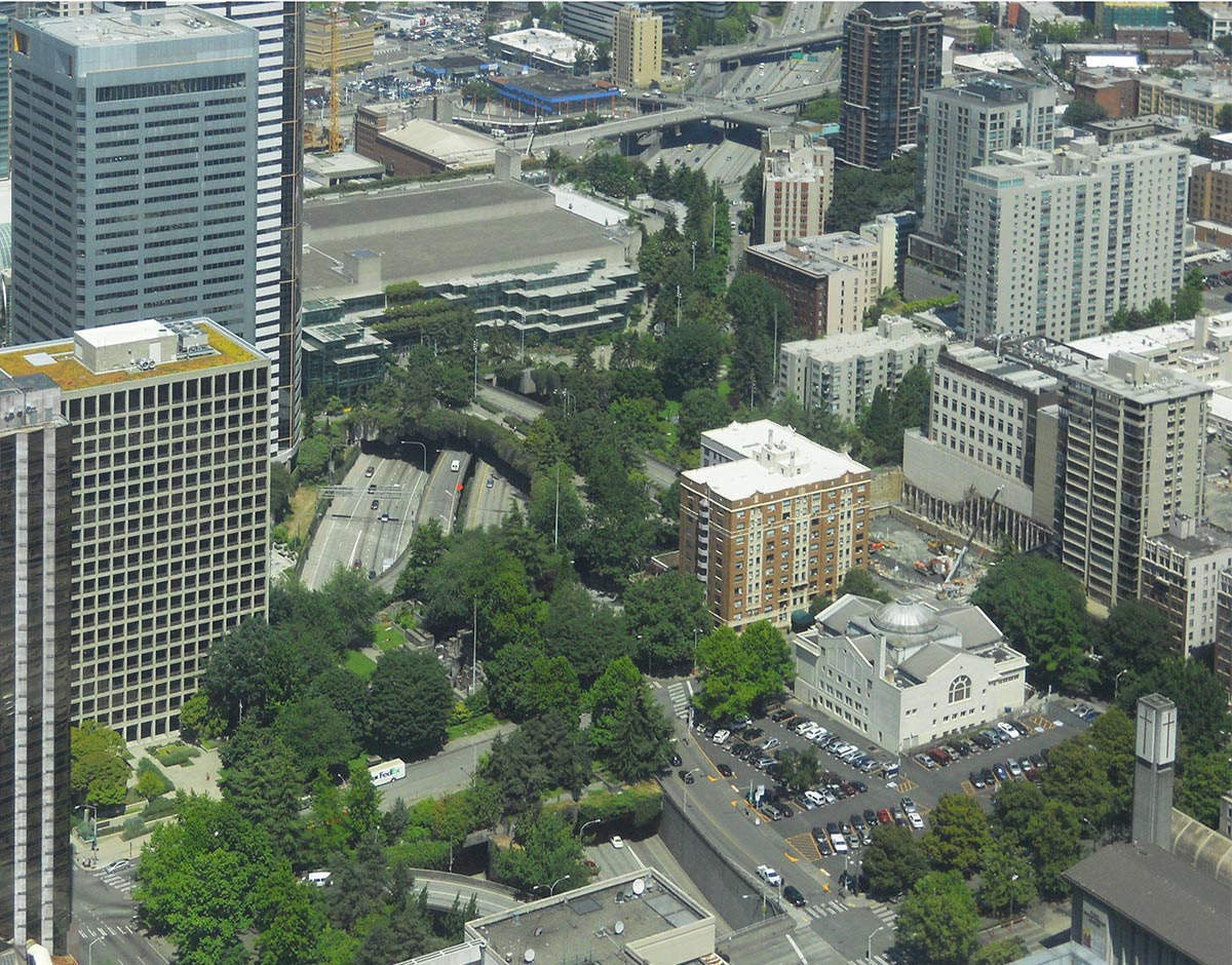 Aerial image of Freeway Park today.