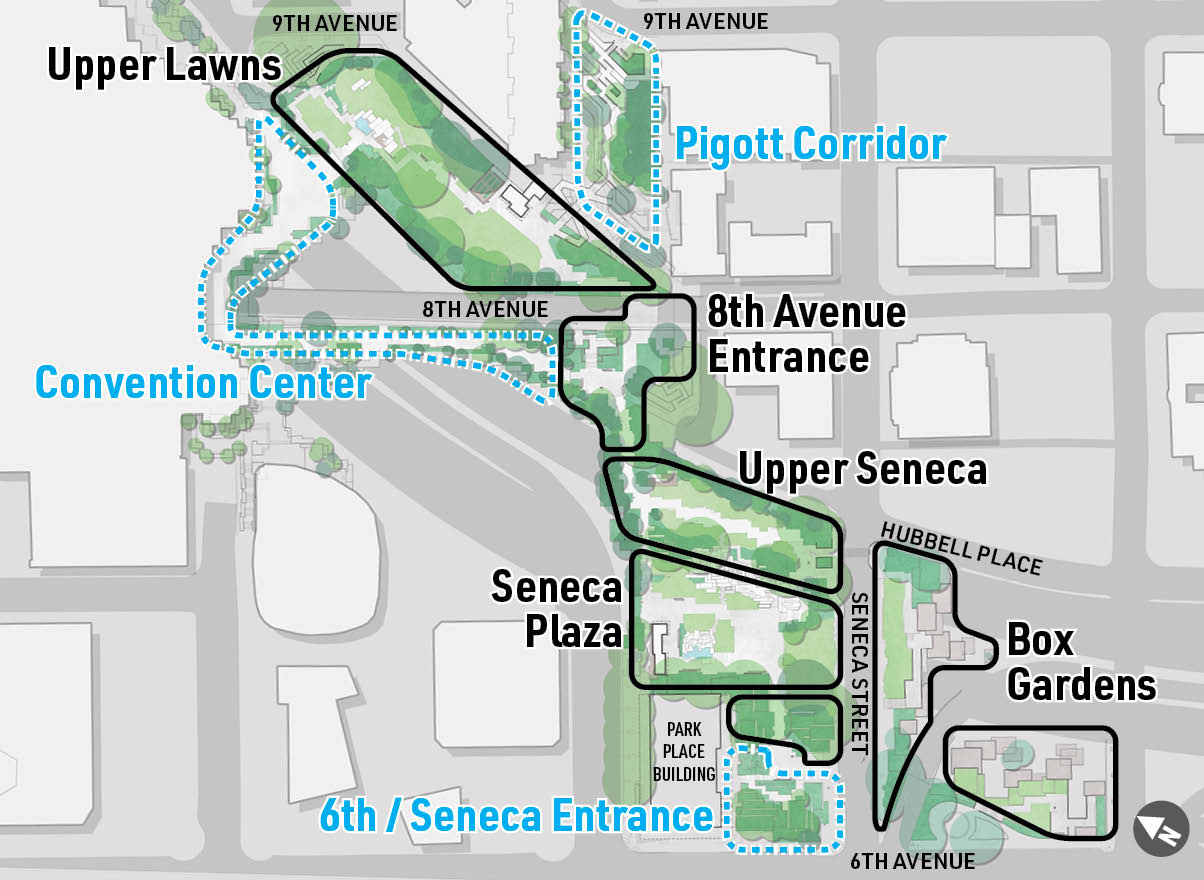 A map of Freeway Park.