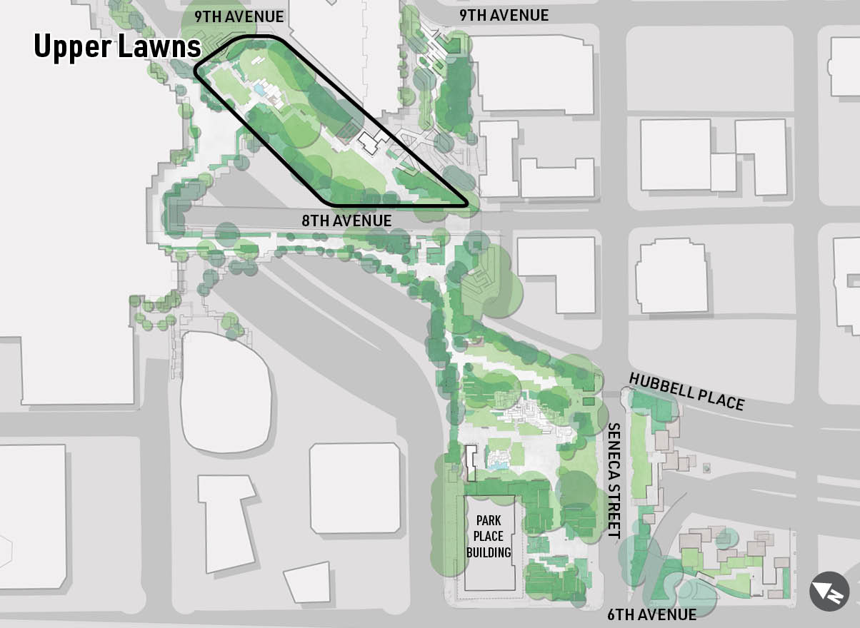 A map highlighting the location of the Upper Lawns at Freeway Park.