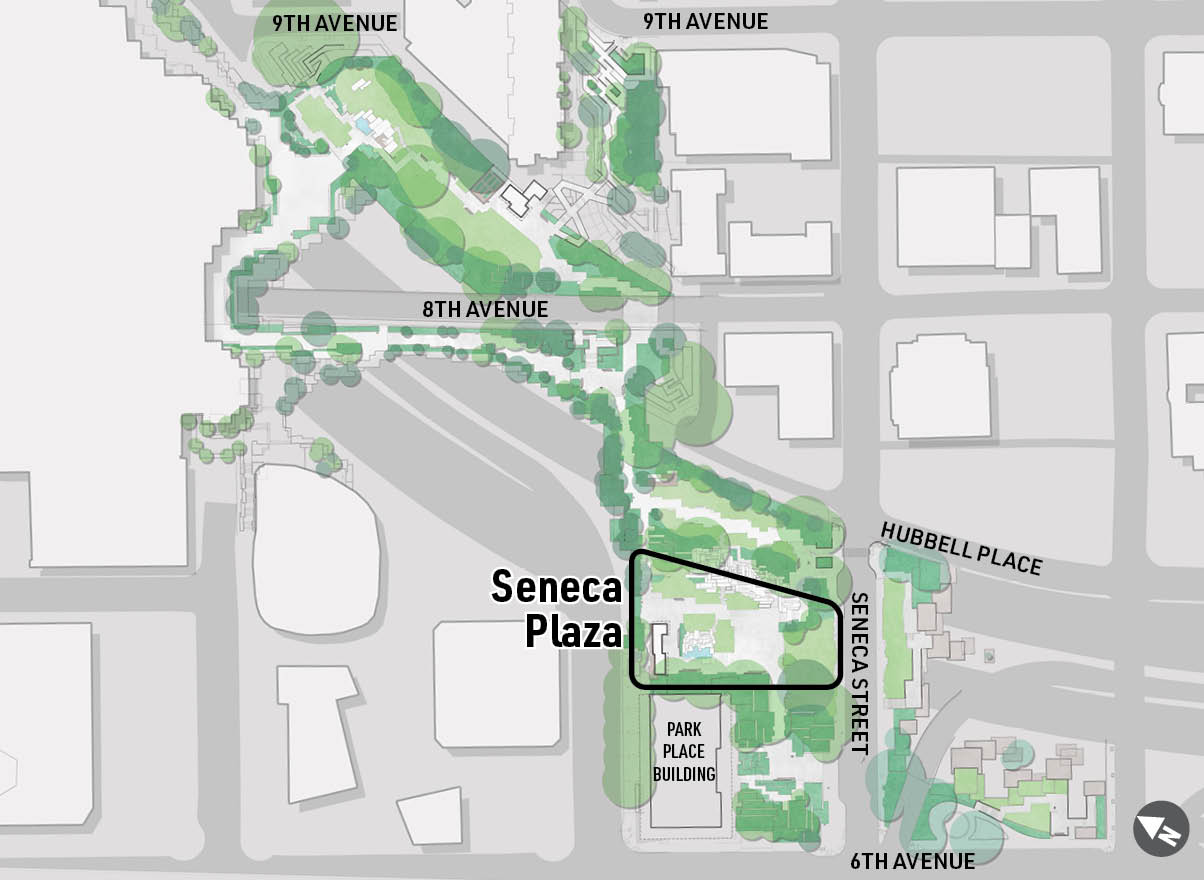 A map highlighting the location of Seneca Plaza at Freeway Park.