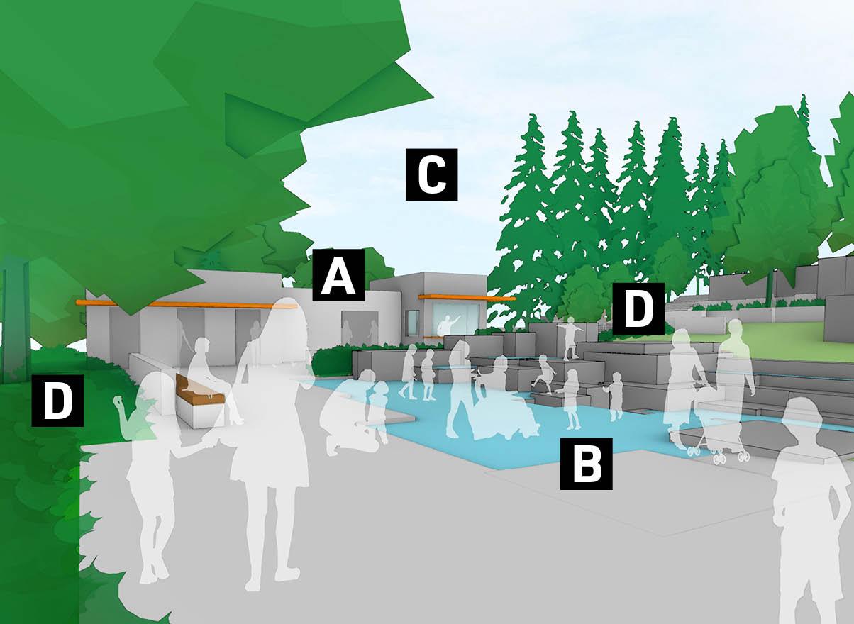 A graphic showing proposed future improvements at Seneca Plaza.