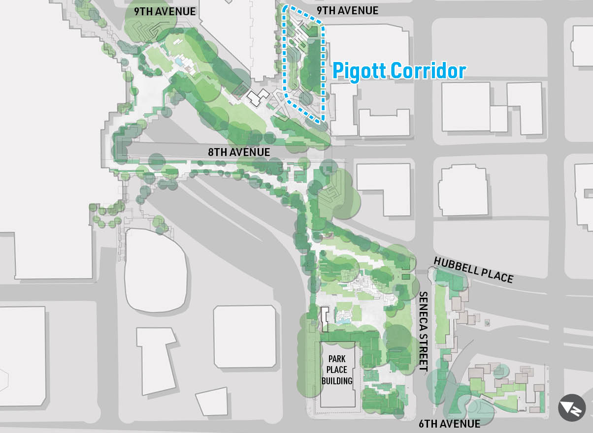 A map highlighting the location of Pigott Corridor at Freeway Park.