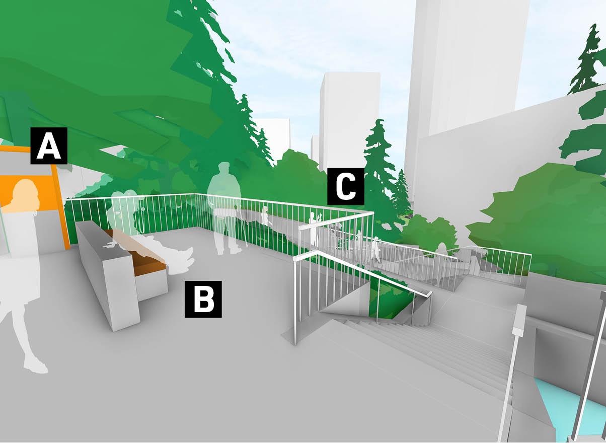 A graphic showing proposed future improvements in Pigott Corridor.