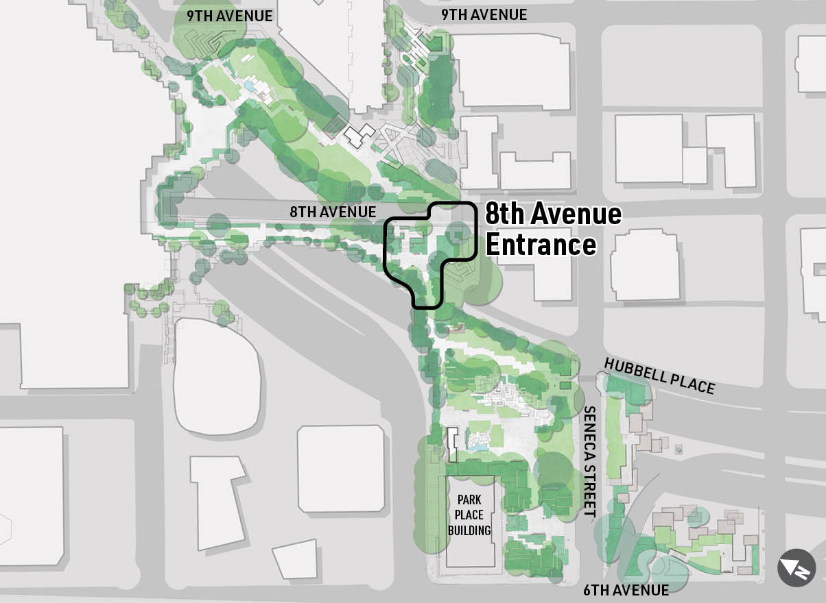 A map highlighting the location of Freeway Park's 8th Avenue Entrance.