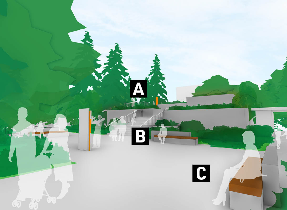 A graphic showing proposed future improvements at the 8th Avenue Entrance.